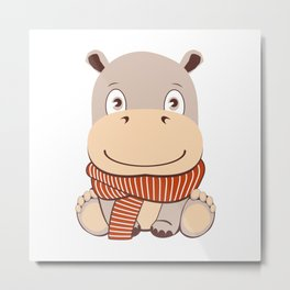 Cute cartoon hippo in kawaii style. Isolated on white background. Hippopotamus with scarf Metal Print