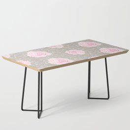 Watercolor roses on Taupe with French script Coffee Table