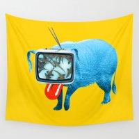 tv Wall Tapestries featuring Schweine TV by Marko Köppe