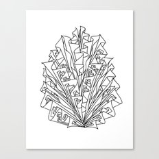 flame line art - white Canvas Print