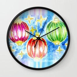 Three oriental lanterns Wall Clock