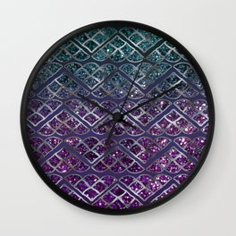 Purple Aqua MERMAID Glitter Scales Dream #1 #shiny #decor #art #society6 Wall Clock