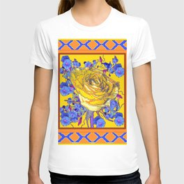 CORAL & BLUE LATTICE & YELLOW ROSE BLUE MORNING GLORY FLOWERS T-shirt