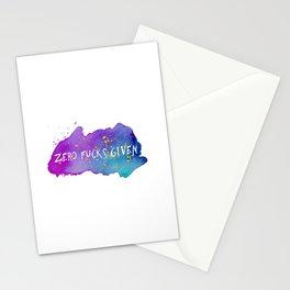 Zero fucks given Stationery Cards