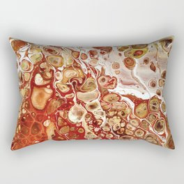 Red and Gold Fluid Pour Abstract Painting Rectangular Pillow