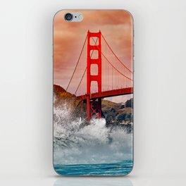 Waves over Red Bridge iPhone Skin