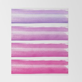 Simply hand painted pink and magenta stripes on white background  2 - Mix and Match Throw Blanket