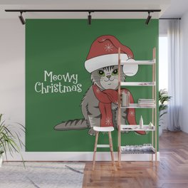 Cat Lover's Meowy Christmas Santa Cat With Green Background Wall Mural