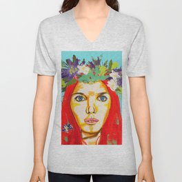 Red haired girl with flowers in her hair Unisex V-Neck