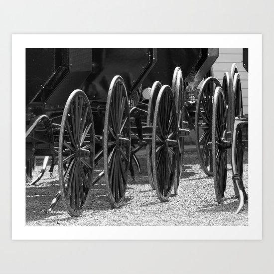Amish buggy wheels Art Print