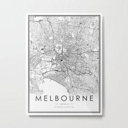 Melbourne City Map Australia White and Black Metal Print