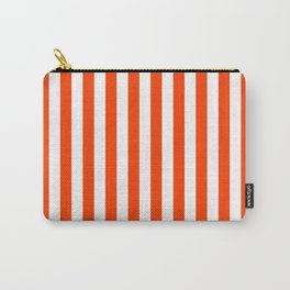 Orange Pop and White Vertical Cabana Tent Stripes Carry-All Pouch