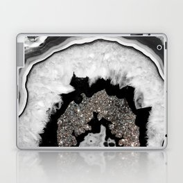 Gray Black White Agate with Silver Glitter #1 #gem #decor #art #society6 Laptop & iPad Skin