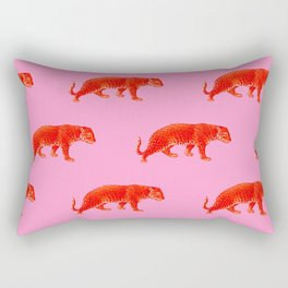 Vintage Cheetahs in Coral + Red Rectangular Pillow