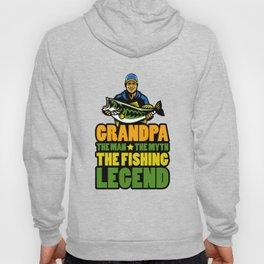 Grandpa The Man The Myth The Fishing Legend Gift for Dads Raglan Baseball design Hoody