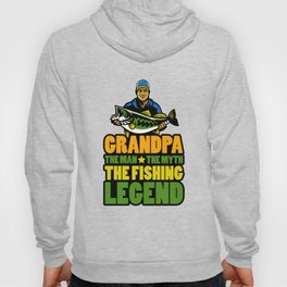 Grandpa The Man The Myth The Fishing Legend Gift for Dads Raglan Baseball design Hoody