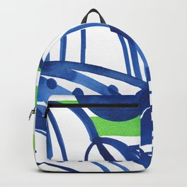 Lime and blue abstract landscape Backpack