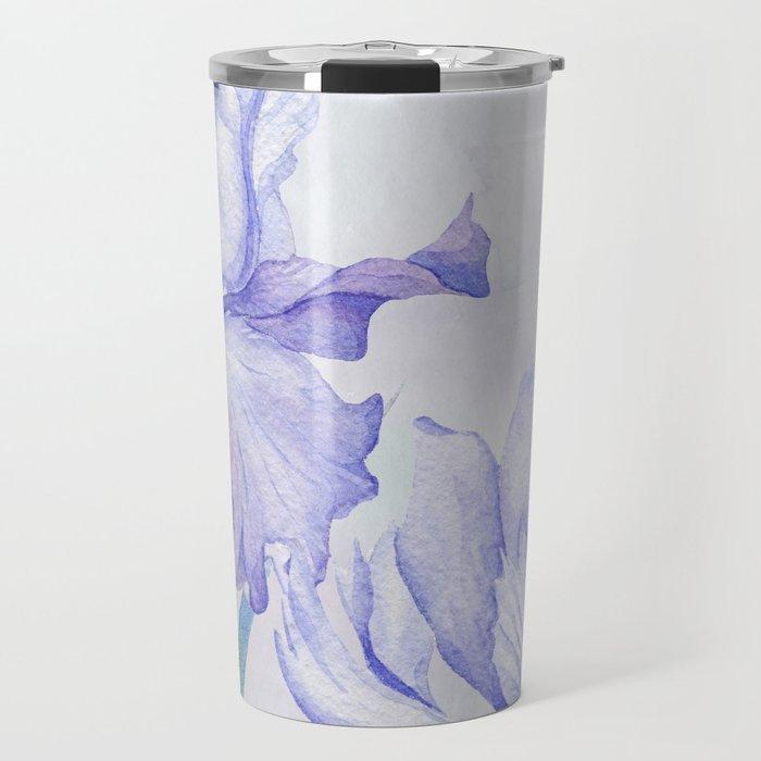 Watercolor Iris Travel Mug