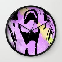 scream Wall Clocks featuring Scream by Katerina Gold