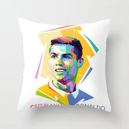 Cristiano Ronaldo In Pop Art Throw Pillow