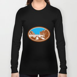 Trinity College Bridge Cambridge Woodcut Long Sleeve T-shirt