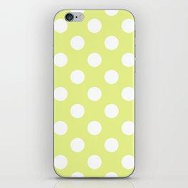 Key lime - yelllow - White Polka Dots - Pois Pattern iPhone Skin