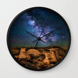 Milky Way Night Sky Over Mountains Wall Clock