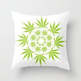 Cannabis Leaf Circle (White) Throw Pillow