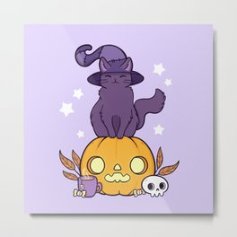 Pumpkin Cat Metal Print