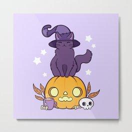 Pumpkin Cat Metal Print