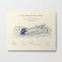 Firearm Mousetrap Design Patent - James A. Williams 1882 Metal Print