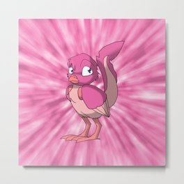 Berry Yogurt Reptilian Bird w/ Pink Tie Dye Background Metal Print