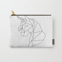 Black Geometric Unicorn Carry-All Pouch