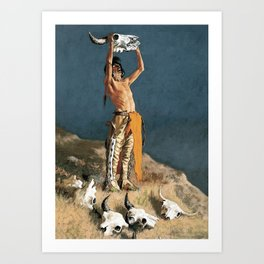 """Western Art """"Conjuring Back the Buffalo"""" by Frederic Remington Art Print"""