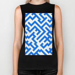 White and Brandeis Blue Diagonal Labyrinth Biker Tank