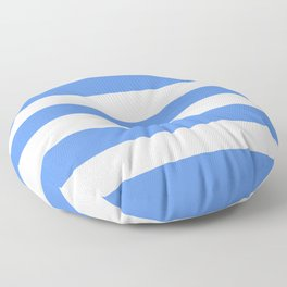 United Nations blue - solid color - white stripes pattern Floor Pillow