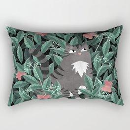 Butterfly Garden (Tabby Cat Version) Rectangular Pillow