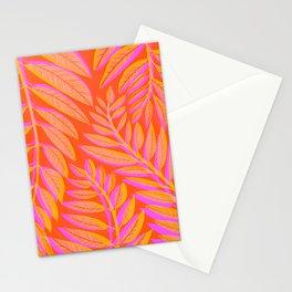 Hot Tropics - Orange Pink Tropical Vines Stationery Cards