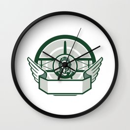 World War One Airman Biplane Circle Retro Wall Clock