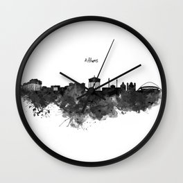 Athens Black and White Skyline Wall Clock