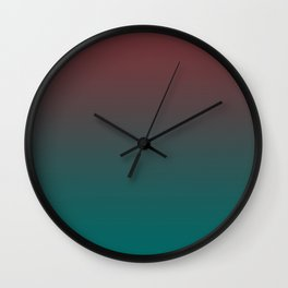 Ombre Quetzal Green Dark Red Pear Gradient Pattern Wall Clock