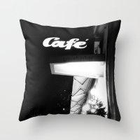 cafe Throw Pillows featuring Cafe  by Julia Aufschnaiter