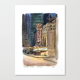 Chicago Theatre Nocturne Canvas Print