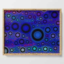 Vibrant Blue Teal Circle Abstract Serving Tray