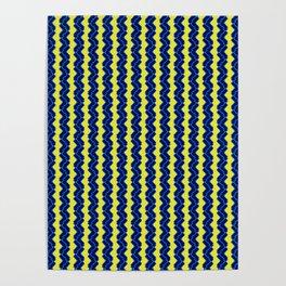 Bright Neon Yellow Blue Zigzag  Poster