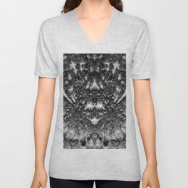 Tribal Face - Black and White Abstract Unisex V-Neck