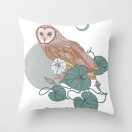 Pink Barn Owl Throw Pillow