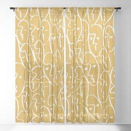 Faces (Mustard Yellow) Sheer Curtain