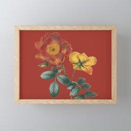 Deep Red Vintage Flowers Framed Mini Art Print