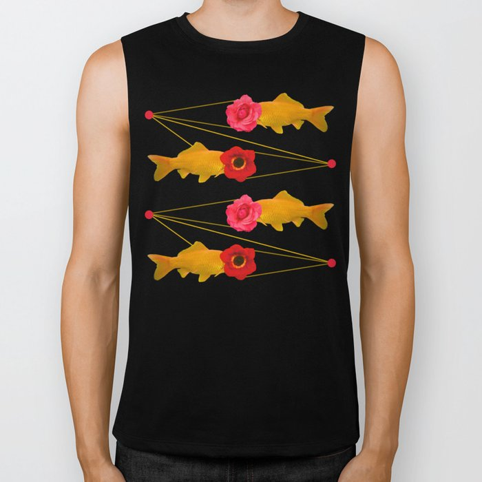 fishes and flowers Biker Tank